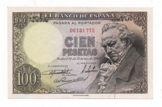 Spain 100 Pesetas 1946 Pick 131 Xf/au 2 Pinholes Look Scans photo