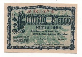 Germany Sondershausen 50 Pfennig 1918 Notgeld Emergency Money Unc Look Scans photo
