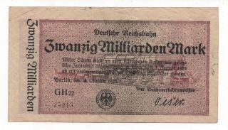Germany Reichsbahn 20 Milliarden 1923 Train Notgeld Emergency Money Look Scans photo
