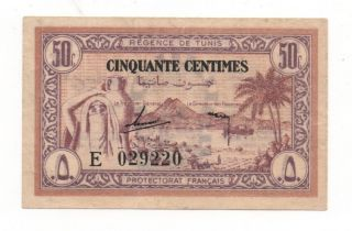 Tunisia 50 Centimes 1943 Pick 54 Vf/xf Look Scans photo