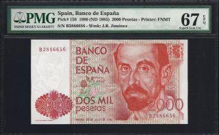 Spain 2000 Pesetas 1980 - Pmg 67 Unc photo