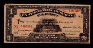 Mexico 1 Peso El Estado De Yucatan 1916 Pick S1135 F - Vf. photo