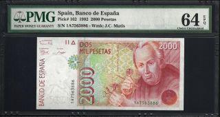 Spain 2000 Pesetas 1992 - Pmg 64 Unc photo