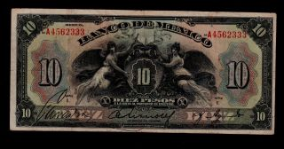 Mexico 10 Pesos (1934) Series I Pick 22h F - Vf. photo