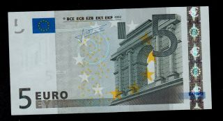 European Union Portugal 5 Euro 2002 Pick 8m Prefix U006b2 Unc photo