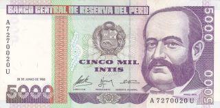 Peru: 5000 Intis,  28 - 6 - 1988,  P - 137,  Crisp Unc photo