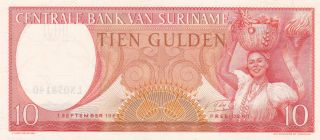 Suriname: 10 Gulden,  1 - 9 - 1963,  P - 121,  Crisp Unc photo