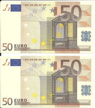 50 Euro Note X 2 Germany [x] Trichet,  Aunc Consecutive Numbers,  Code [g035e2]. photo