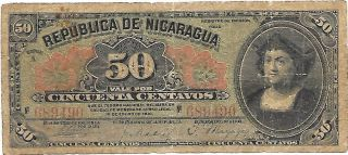Old Nicaraguan Note 50 Cts 1910 P - 43a photo
