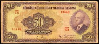 Riotis 3772: Turkey Rare 50 Lirasi 1942,  P - 142a,  Series Y22 - Emisyon 3. photo