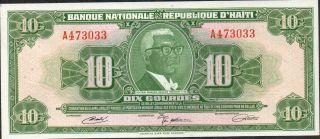 Haiti,  10 Gourdes,  L.  12.  4.  1919 / 1970 ' S,  P 203a ?,  Prefix A photo