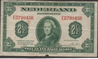 Netherlands,  2 1/2 Gulden,  4.  2.  1943,  P 65a,  Prefix Ed photo