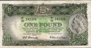 Australia,  $1,  Nd.  1953,  P 30a,  Prefix Hf/40 photo