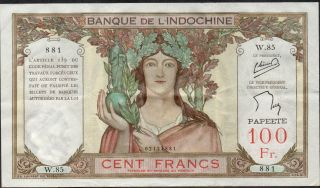 Tahiti,  100 Francs,  Nd.  1939,  P 14c,  Series W.  85 photo