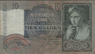 Netherlands,  10 Gulden,  7.  11.  1941,  P 56b,  Prefix 5 Bg photo