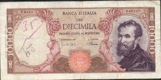 Italy,  10000 Lire,  4.  1.  1968,  P 97d,  Serie T 0343 photo