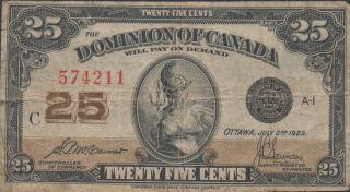 Canada,  25 Cents,  7.  2.  1923,  P 11b photo