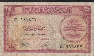 Lebanon,  25 Piastres,  6.  11.  1950,  P 42 photo