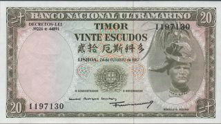 Timor,  20 Escudos,  24.  10.  1967,  P 26a photo