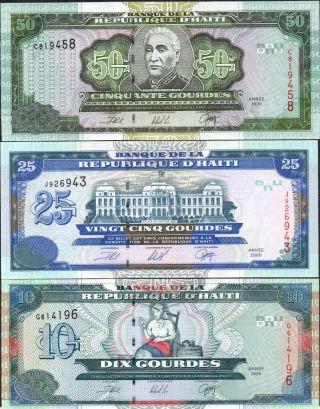 Haiti,  10,  25 & 50 Gourdes,  2000,  P 265a,  P 266a & P 267a,  Prefix G,  J & C photo