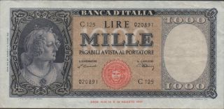 Italy,  1000 Lire.  18.  8.  1947,  P 83,  Series C 125 photo