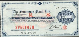 Japan / The Sumitomo Bank Ltd.  / Osaka,  50 000 Yen,  Travelers Check,  Specimen photo
