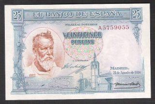 Spain 25 Pesetas Agosto 1936 - Unc photo