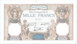 (of391210) France Paper Note - 1000 Mille Francs 1939 - Aunc photo