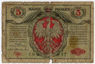 Poland 5 Marek 1917 P 11 photo
