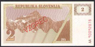 Slovenia - P 2 / P2 - 2 Tolarjev Specimen (vzorec) Banknote/note - 1990 - Unc photo