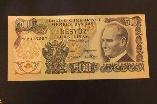 500 Turkish Lira Uncirculated Rare photo