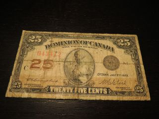 1923 Dominion Of Canada Shinplaster 0.  25 Cents Paper Money Campbell Clark 642412 photo