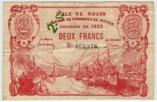 France / Rouen 1922 2nd Serie 2 Francs Pirot 110 - 69 Circ. photo