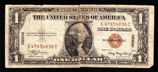 Hawaii 1 Dollar 1935a (1942) Pick 36 Vg. photo