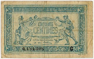 France Army Treasury Wwi - 50 Centimes 1917 M 1 photo