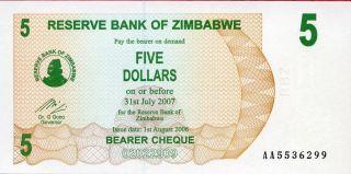 Zimbabwe 5 Dollars 2006 P - 38 Unc photo