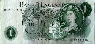 H40y 381988 One Pound Note Bank Of England Queen Elizabeth Ii Cashier John Fford photo