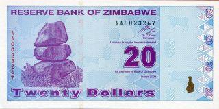 Zimbabwe 20 Dollars 2009 P - 95 Unc photo