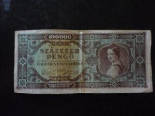 Hungary - 100 Thousand Pengo Banknote 1945 photo