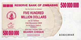 Zimbabwe 500,  000,  000 500000000 Dollars 2008 P - 60 Unc photo