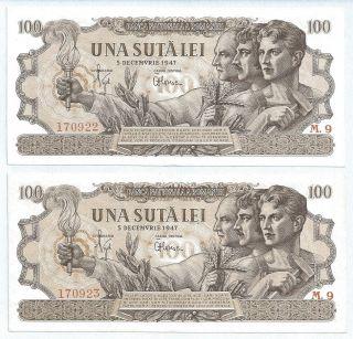 (r470910) Romania Paper Notes - Consecutive - 2x 100 Lei 1947 - Aunc photo