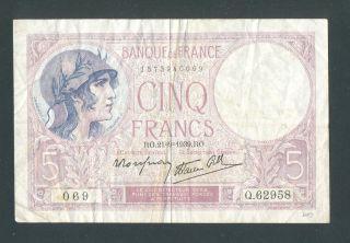 France 5 Francs 21 - 91939 Vf,  No Pin Holes Or Tears photo