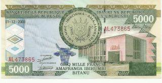 Burundi 5000 Francs 2008 Pick 48 Unc photo
