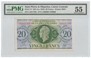 Rare Saint Pierre & Miquelon 1941 20 Francs Pick 12 Pmg Au55 (highest Graded) photo
