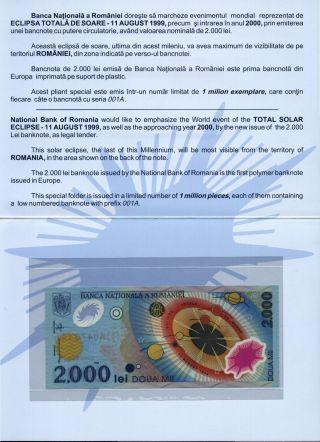 (r991302) Romania - 2000 Lei 1999 Unc - Polymer Plastic Note In Folder photo