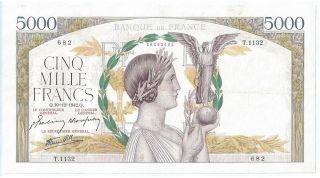 (of421402) France Paper Note - 5000 Francs 1942 - Aunc photo