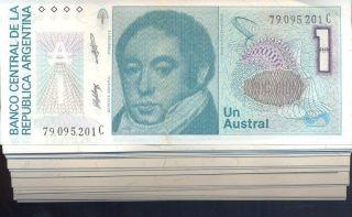 Argentina Bundle 100 Notes 1 Austral P323b Uncirculated 1985 - 89 Correlative photo