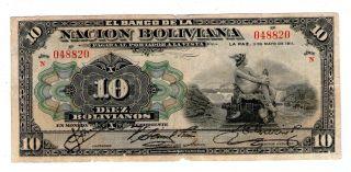 Bolivia Note 1o Bolivianos 1911 Red Serial P 107b photo