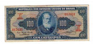 Brazil Note 100 Cruzeiros 1961 P 170a Vf photo