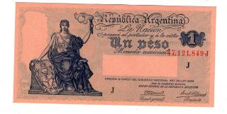 Argentina Note 1 Peso 1945 Serial J Gagneux - Casares P 251d Xf photo
